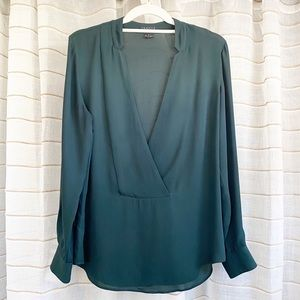 Theory Forest Green Silk Long Sleeve Blouse